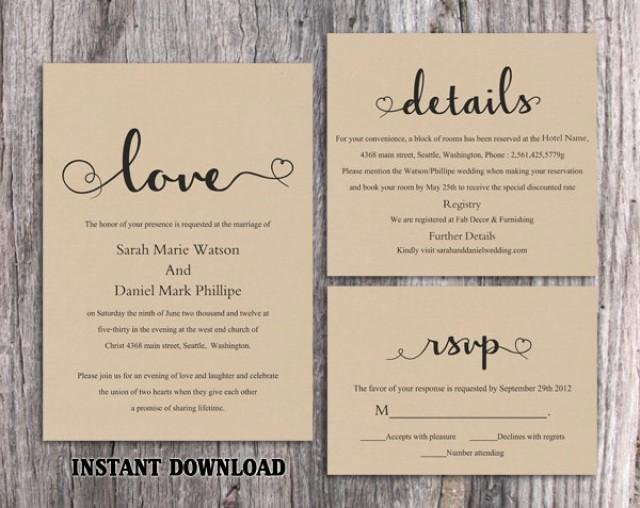 Diy Burlap Wedding Invitation Template Set Editable Word
