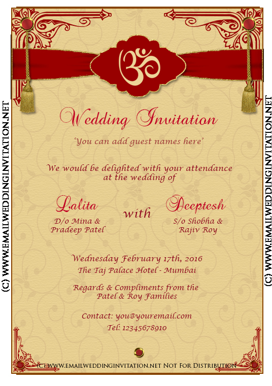 Diy Email Indian Wedding Card Template Baroque Style