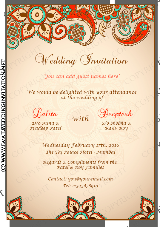 Diy Email Indian Wedding Card Template Multi Colored