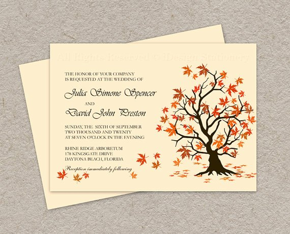 Diy Fall Wedding Invitation Printable Fall Leaves Wedding