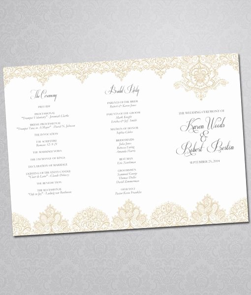 Diy Pearls and Lace Wedding Program Tri Fold Template