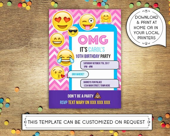 Diy Printable 5x7 Birthday Party Invitation Template Emoji