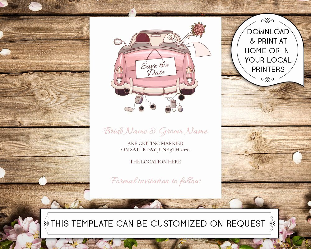Diy Printable 5x7 Save the Date Invitation Template Car