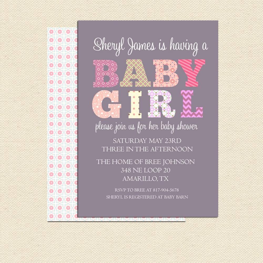 Diy Printable Baby Shower Invitation for Girl No 2