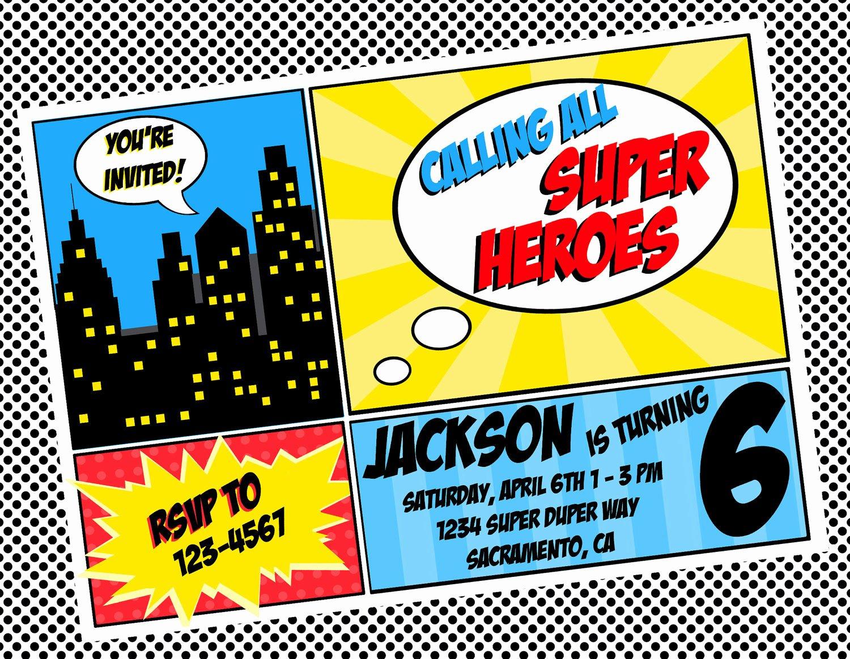 Diy Printable Invitation Super Hero