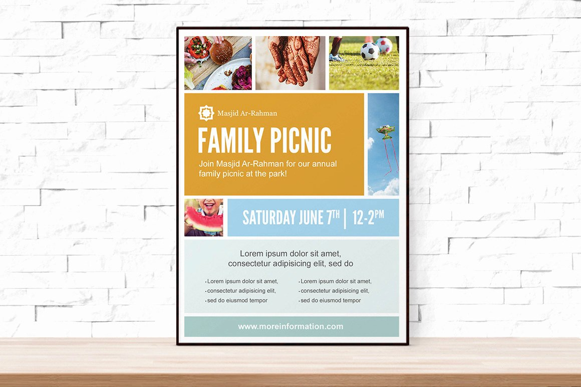 Diy Printable Picnic Collage event Template Flyer for Church