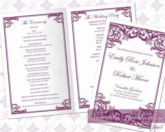 Diy Printable Wedding Ceremony Program Template