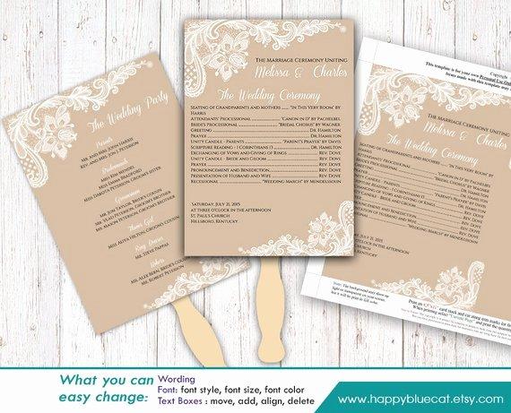 Diy Printable Wedding Fan Program Template Instant Download