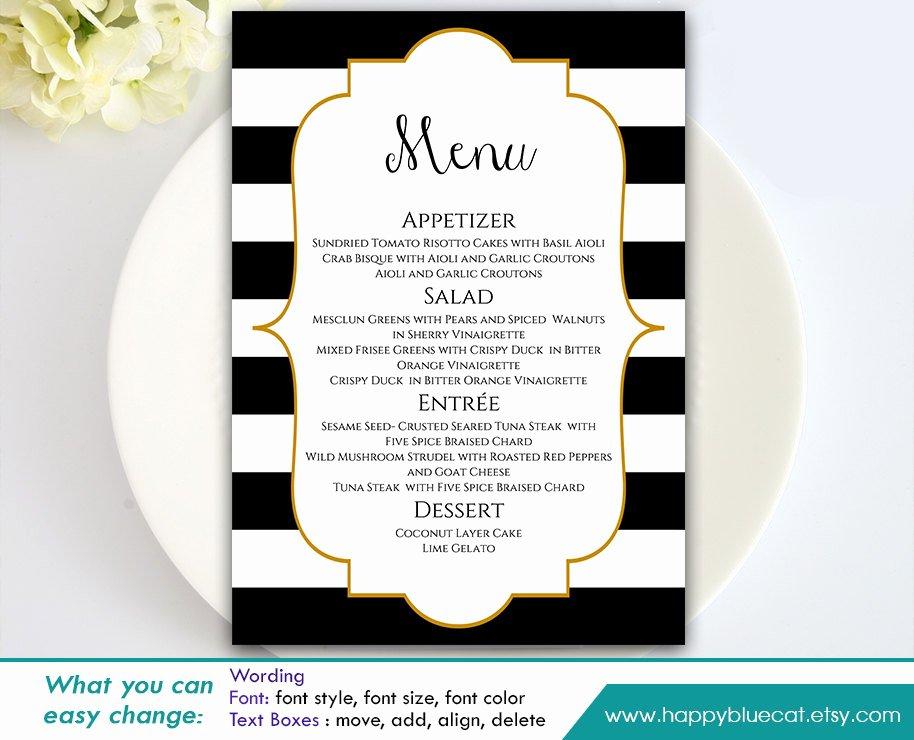 Diy Printable Wedding Menu Template Instant Download