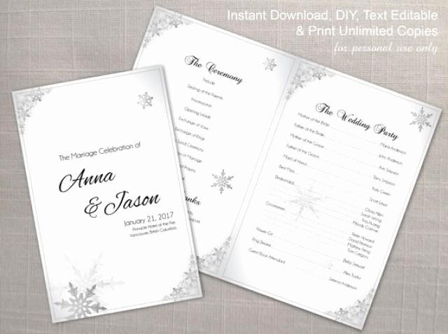 Diy Printable Wedding Program Template Weddbook