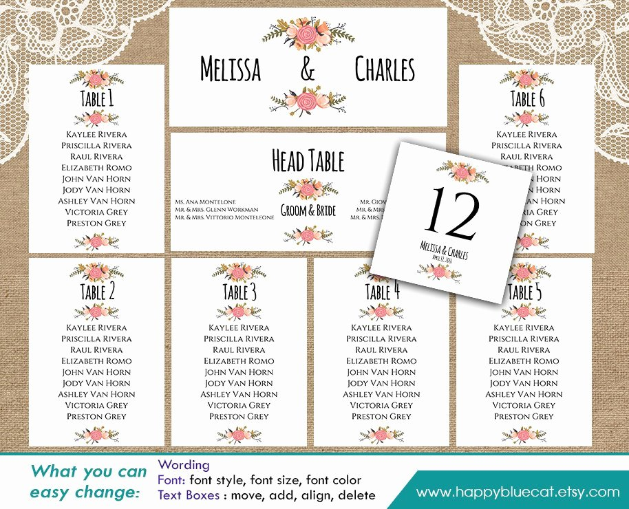 Diy Printable Wedding Seating Chart Template Instant