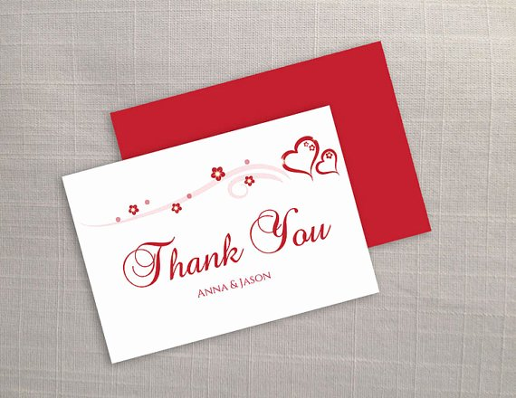 diy printable wedding thank you card template editable ms word file 35 x 5 instant red heart romance