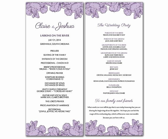 Diy Purple Poppy Flowers Wedding Program Microsoft Word