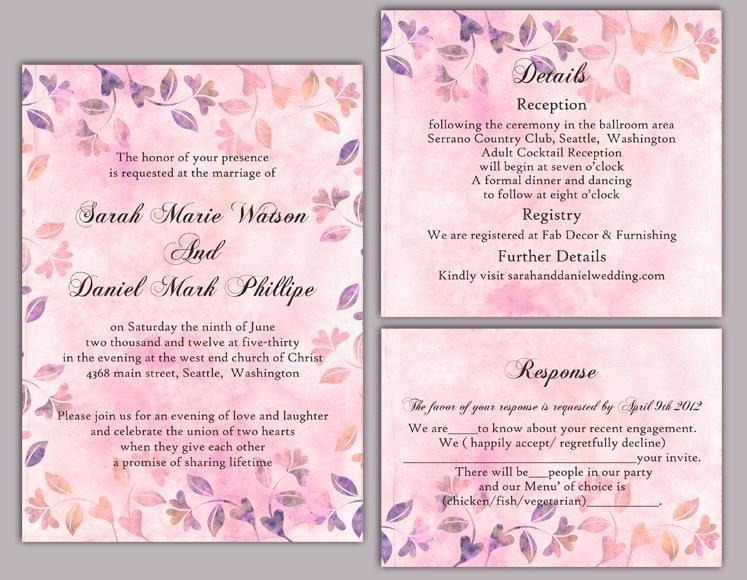 Diy Rustic Wedding Invitation Template Set Editable Word