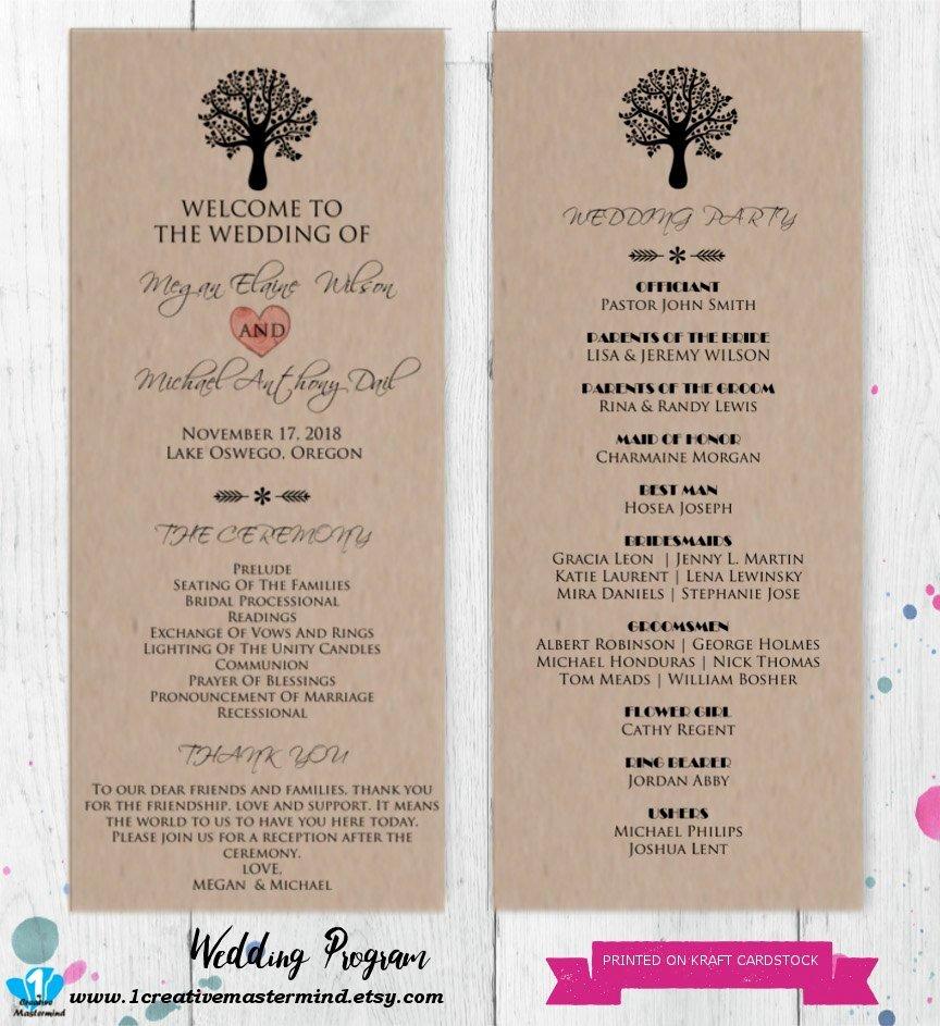 Diy Rustic Wedding Program Template Printable Editable