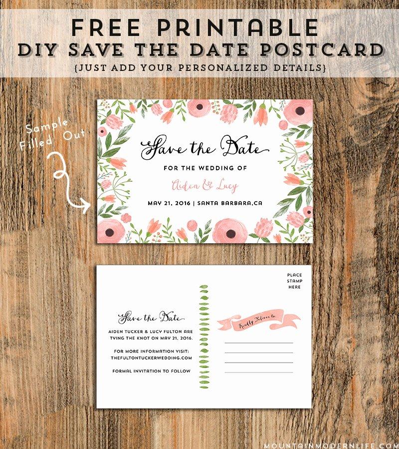 Diy Save the Date Postcard Free Printable