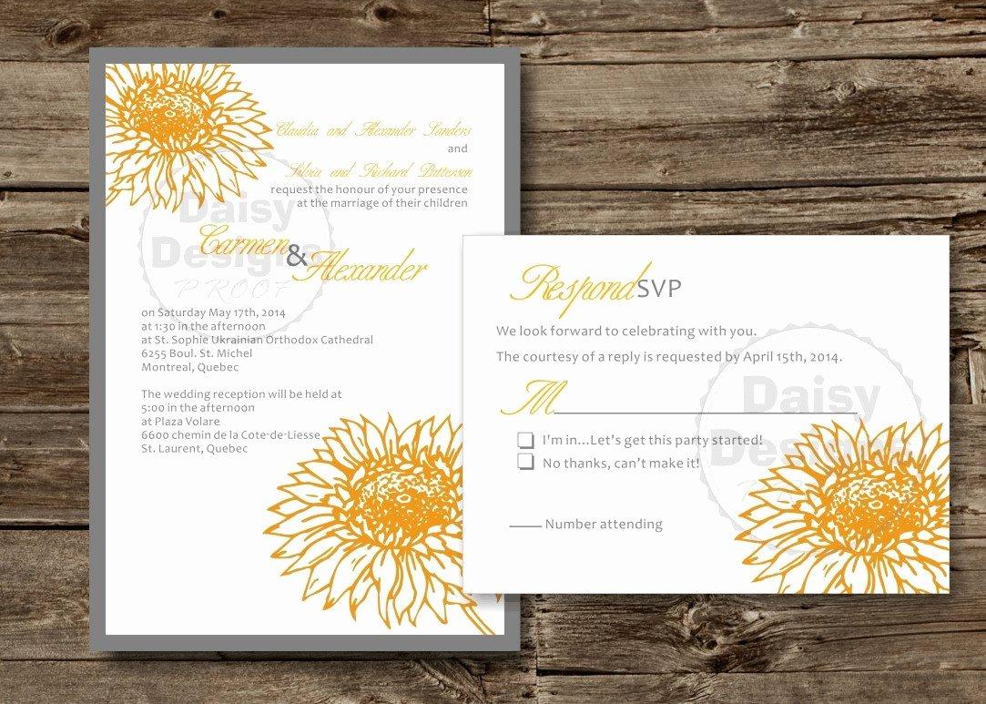 Diy Sunflower Wedding Invitation Template Yellow Grey