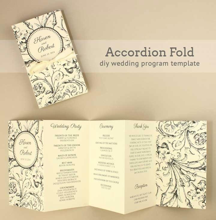 Diy Tutorial Free Printable Folded Wedding Program Boho