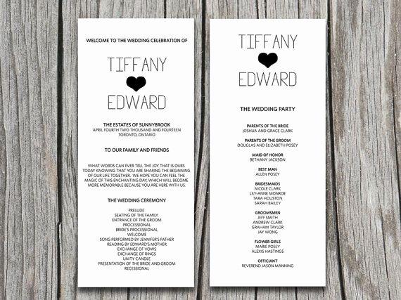 Diy Typography with Heart Wedding Program Microsoft Word