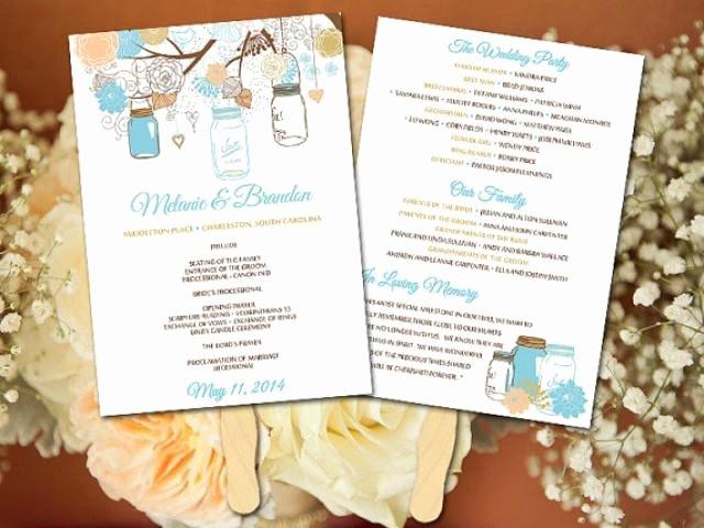 Diy Wedding Fan Program Template Mason Jar Wedding Fan