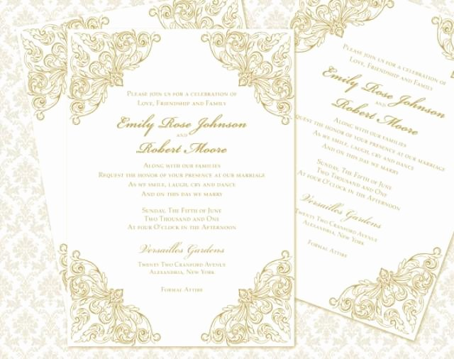 diy wedding invitation printable template 5x7 invitation instant baroque calligraphy in gold