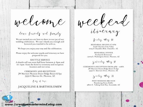 Diy Wedding Wel E Bag Note Wel E Bag Letter Printable