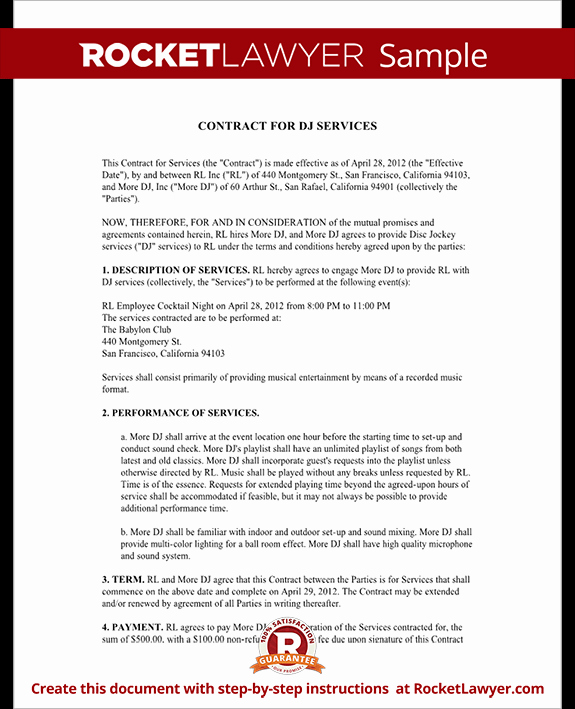 Dj Contract Template Dj Agreement with Sample