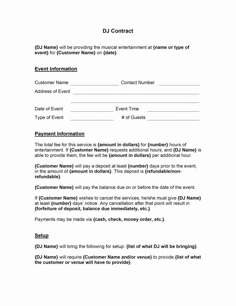 Dj Contract Template Free Microsoft Word Templates