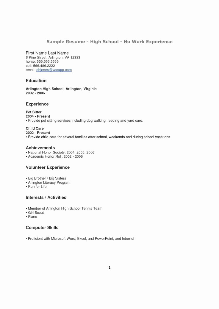 Doc High School Resume Template No Work Experience