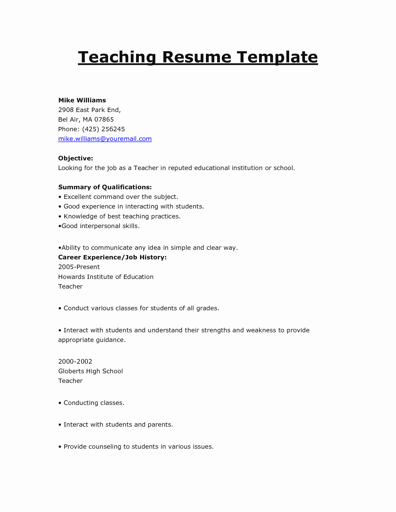 Doc Resume Template Teacher Templates Word Free Primary