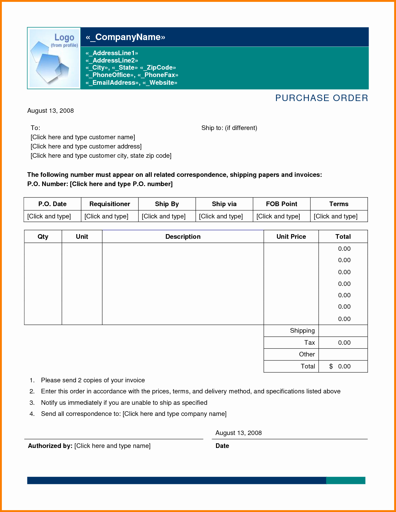 Doc Word Purchase order Template – Purchase order