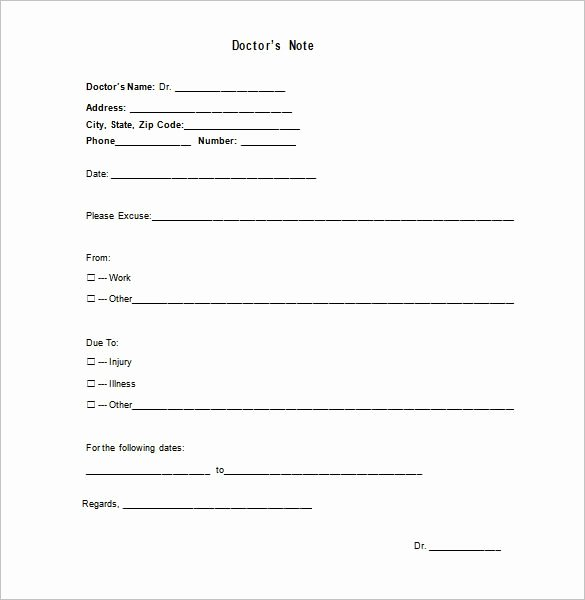 Doctor Excuse Template 7 Free Sample Example format