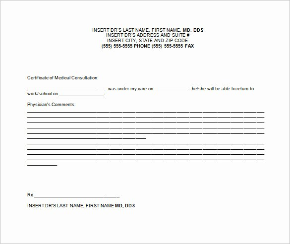 Doctor Note Templates for Work 6 Free Sample Example