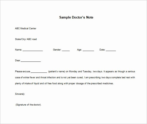Doctor Note Templates for Work – 8 Free Sample Example