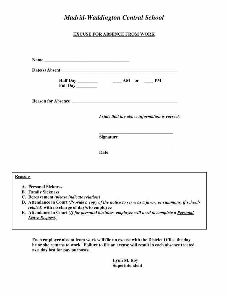Doctors Excuse for Work Template