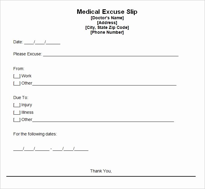 Doctors Excuse Template