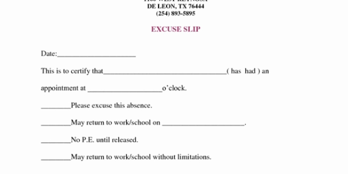 Doctors Note for Work Absence Free Download Printable