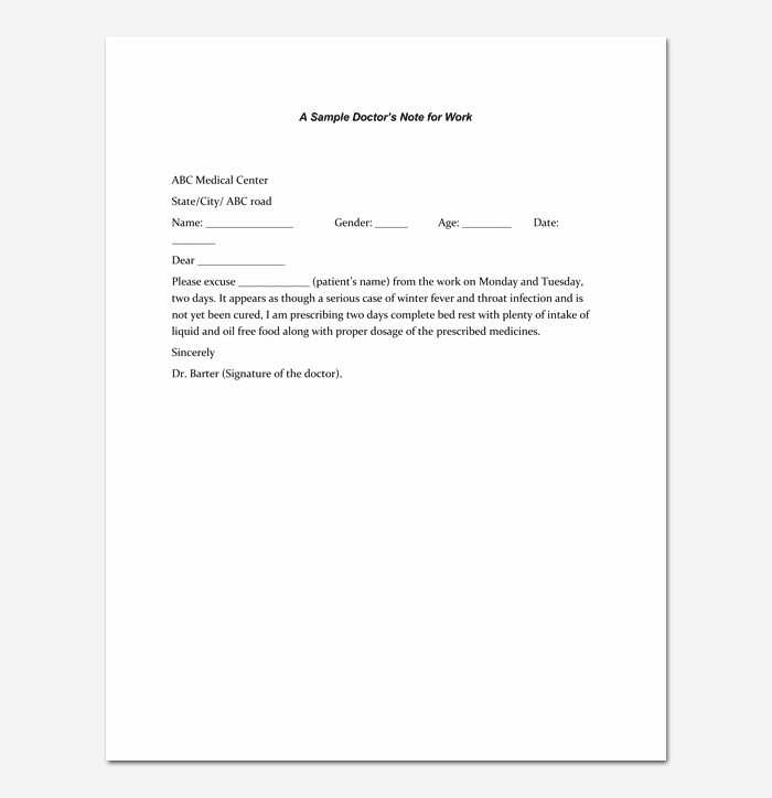 Doctors Note Template 7 Fillable Notes for Word & Pdf