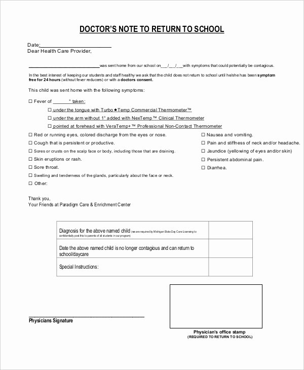 Doctors Note Template for School 6 Free Word Pdf