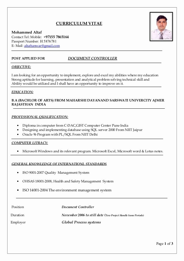 Document Controller Resume Pdf