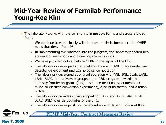 Doe Fy2009 Fnal Mid Year Review Slide Presentation