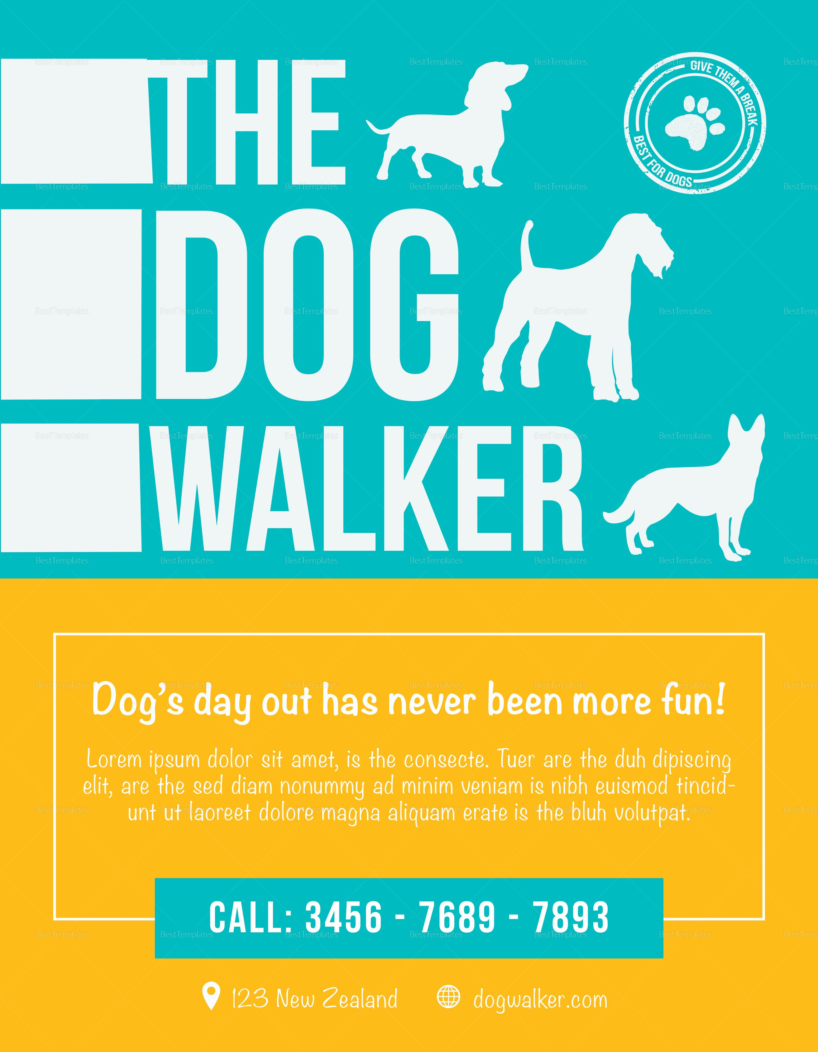Dog Walker Flyer Design Template In Psd Word Publisher