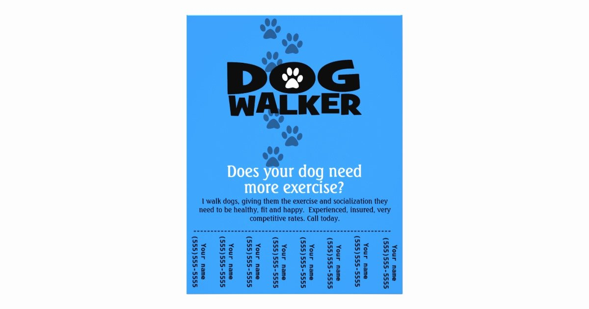 Dog Walker Promotional Tear Sheet Flyer Template B