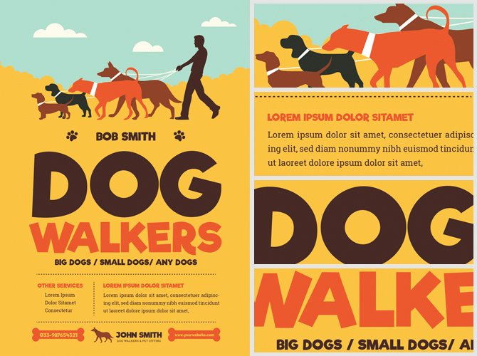Dog Walkers Flyer Template Flyerheroes