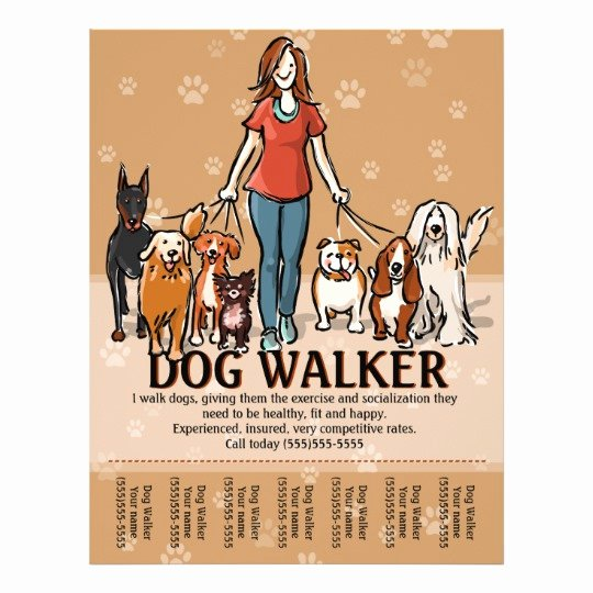 Dog Walking Business Tear Sheet Flyer Template