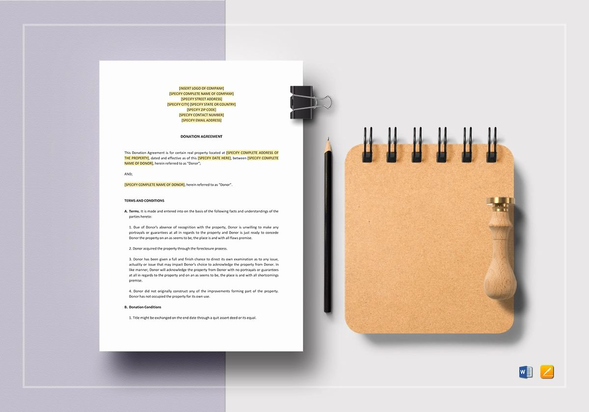 Donation Agreement Template In Word Apple Pages