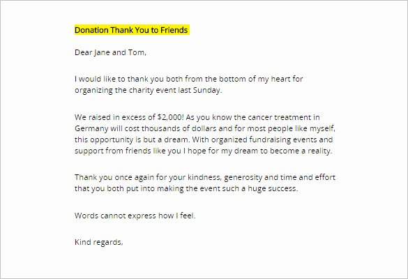 Donor Thank You Letter – 10 Free Sample Example format
