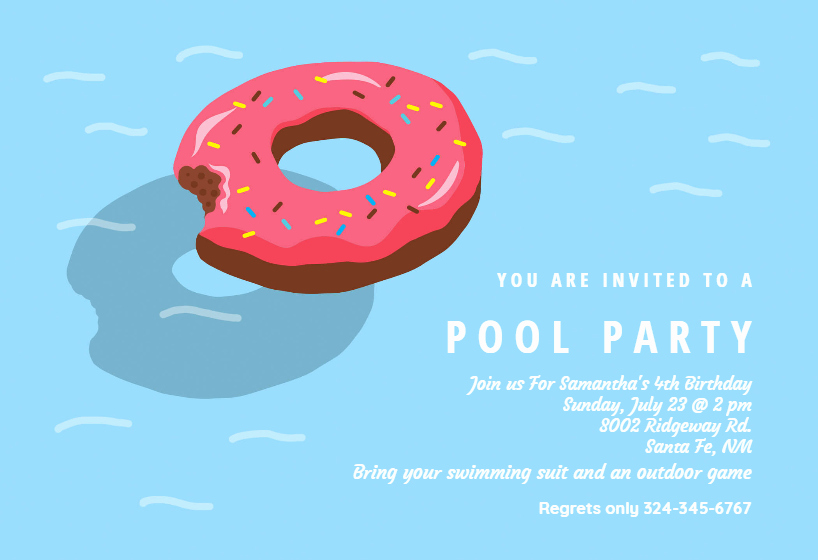 Donut Inflatable Pool Party Invitation Template Free