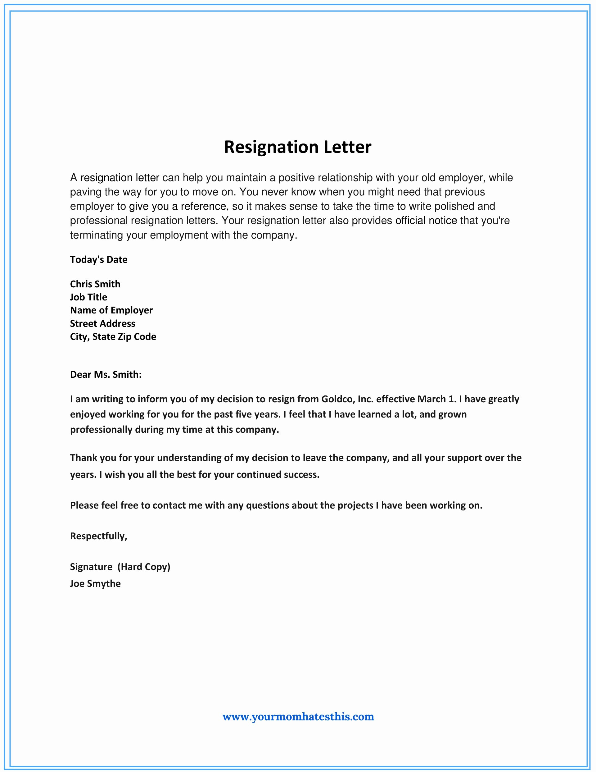 dos and donts for a resignation letter