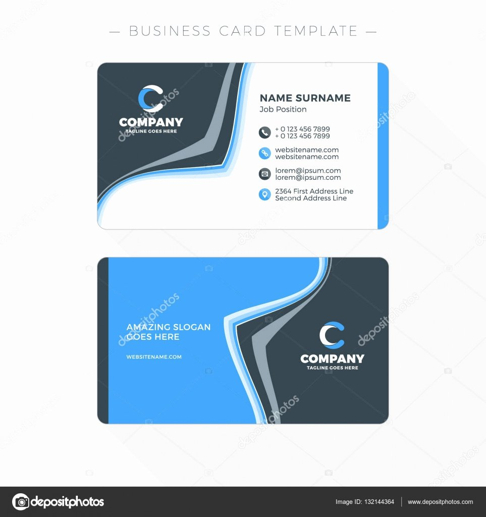 Double Sided Business Card Template with Abstract Blue and